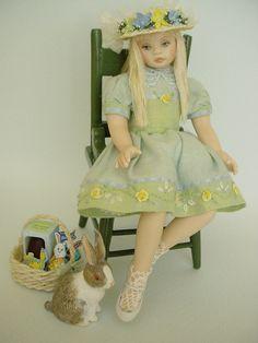 GOOD TIMES: April  - Time For Bunnies And Baskets (Dollshouse dolls by Debbie Dixon-Paver)