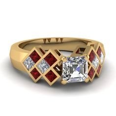 Latticework Ring || Asscher Cut Diamond Side Stone Ring With Red Ruby In 18k Yellow Gold