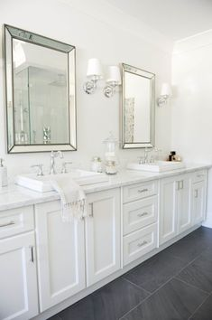 Tradewinds Bathroom Vanities Ideas with Modern Touch : Long White Vanity Idea With Washstands