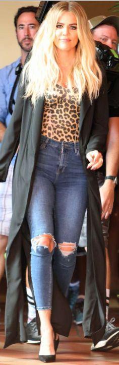 3d9c3a717eb4 Khloe Kardashian  Jeans – Topshop Shoes – Christian Louboutin Shirt –  Baserange Coat – Naked