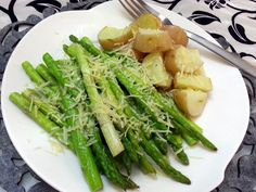 "Roasted Asparagus - ""I drizzled some olive oil and sprinkled some garlic salt over the asparagus. Slightly boiled some young potatoes and baked them together. Mine too longer than 10mis but they definately tasted great. This will be on rotation for my lazy days dinner. ^,^"" @allthecooks #recipe"