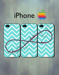 Best Bitches Forever Infinity Blue Chevron iPhone case - iPhone 4 case or iPhone 5 case - iPhone Case, Three Case Set.