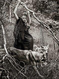 Lara Stone by Mario Sorrenti for Vogue UK September 2014