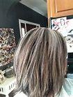 Dark brown, light brown, ash blonde, helps blend grey when it come in ...