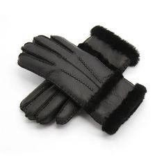 Eastern Counties British Sheepskin Ladies Cuff Gloves in Chocolate Brown