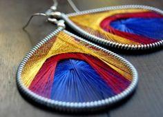 String Art Earrings  http://www.how-to-make-jewelry.com/peruvian-thread-string-art-earrings.html