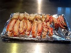Once you are past the prep, it& just 7 minutes under the broiler and you are ready to eat. King Crab Recipe, Crab Legs Recipe, Alaskan Crab Legs, Alaskan King Crab, Lobster Recipes, Crab Recipes, Crab Dishes, Seafood Dishes, Seafood Meals