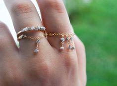 14k Gold Filled Diamond Ring, Dangle Ring, Rough Diamonds, Chain Ring, Organic, Bohemian, Stack Rings, Dainty Ring, Thin Gold Ring, Band, Om