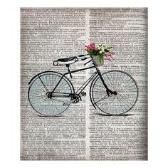 Newsprint Bicycle Silhouette Canvas Print.