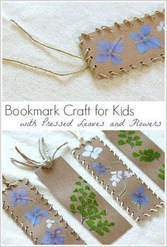Bookmark Craft for Kids using pressed leaves and flowers: Makes a great Mother's Day gift or spring craft after going on a nature walk! ~ BuggyandBuddy.com