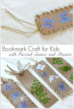Bookmark Artisanat pour enfants en utilisant pressée feuilles et les fleurs ~ BuggyandBuddy.com