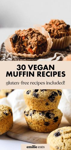 This roundup has every vegan muffin recipe you could ever need from classics like blueberry to fun savory options like sweet potato and herb Best Gluten Free Desserts, Vegan Dessert Recipes, Vegan Breakfast Recipes, Vegan Snacks, Snack Recipes, Healthy Snacks, Vegan Blueberry Muffins, Coconut Muffins, Sweet Potato Muffins