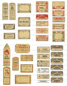 SALE 1:12 Scale 48 Dollhouse Miniature Vintage Apothecary Poison Labels Instant Digital Download Col