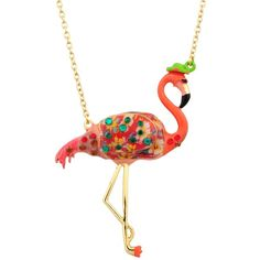 N2 by Les Néréides KIND AND HAPPY FRANCIS THE FLAMINGO NECKLACE (€105) ❤ liked on Polyvore featuring jewelry, necklaces, jewelry necklaces, pink, pink jewelry and pink necklace