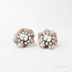 Rose Soleil Jewelry Bridal Collection   ローズソレイユジュエリーブライダルコレクション   リボンピアス / イアリング Bridal Collection, Bridal Jewelry, Rose, Jewelry Accessories, Stud Earrings, Floral, Flowers, Pink, Jewelry Findings
