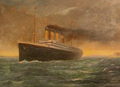 A painting of the Titanic passing Calshot Castle by George Washington Sandell.