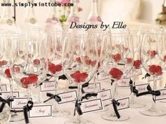 "These lovely Chanel Inspired Place cards adorned around the stem of a wine glass with ribbon(not included) would make a great addition to any Chanel themed party.  Each name tag is trimmed with a black border and adorned with your guest name.  What an awesome way to start your party.  Personalized wine glass are the way to go!  Sold in Sets of 10  Please leave names under ""Tell Me More""   You will receive a proof within 48 hours of purchase.  Once approved I will print and ship your order…"