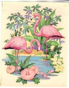 Vintage flamingo art.