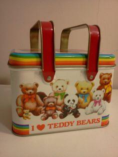 Vintage 70s 80s Rainbow Teddy Bear Tin