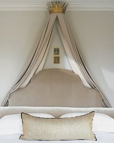 Inspiration for this bedroom was the Queen Hedvig Eleonara of Sweden. Linen drapes and velvet headboard are just beautiful.