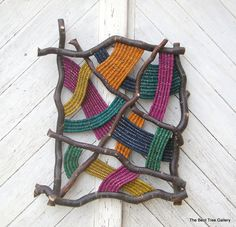 "Contemporary Woven Wall Sculpture ""Prism"" OOAK."