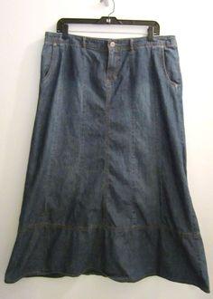 J Jill Denim Jean Skirt Womens Size 14 Long Modest Boho Prairie Country Western #JJill #PeasantBoho