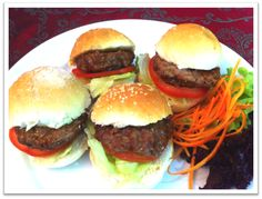 Four homemade pure ground beef snack burgers topped with lettuce and tomato at until 2 Feb 2013 Wine And Beer, 100 Pure, Lettuce, Ground Beef, Wine Recipes, Burgers, Hamburger, Beverages, Good Food