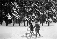 Children with kick-sleds, Stockholm, Uppland, Sweden by Swedish National Heritage Board