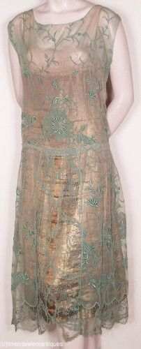 c1920's French Embr. Tulle & Lame' Party Dress 20s fashion style