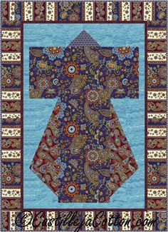 Jewel Kimono Quilt Pattern - Fortuna    #timelesstreasuresfabrics #fortunafabrics #wallquiltpattern #kimonoquiltpattern