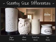 Difference in size of #Scentsy products from a diffuser to a warmer!