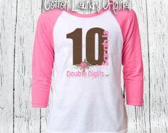 DOUBLE DIGITS Tenth Birthday Girls 10 Year Old Raglan Baseball Style Tee Shirt Girl Tween