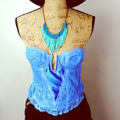 90's Grunge Gypsy Dyed Blue Nordstrom Corset l͢i͢g͢h͢t͢l͢y͢ l͢o͢v͢e͢d͢⭐️90's Style Grunge Dyed-Blue Corset (some threads are still white because that's its original color).  ⭐️Nordstrom Intimates⭐️Great condition.⭐️36B⭐️Reasonable offers only.⭐️  Nordstrom Intimates Intimates & Sleepwear Shapewear