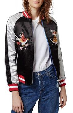 Topshop 2-in-1 Reversible Sateen Bomber Jacket available at #Nordstrom