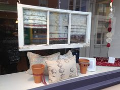 Shabby Window Display with Clarke and Clarke fabric faux mini blinds at Sue Foster Interiors, Emsworth