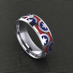 American Patriot Band- GentsBy Paul Michael Design. Available at www.Geek.jewelry #Geek #Jewelry #Creative #YouAreSpecial #Artistic #paulMichaelDesign #Gemstones #popculture #CustomJewelry #Designer