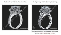 Blooming Rose Engagement Ring Collection - These designer rings are art carved using various methods, such as: raised metal embossing, decorative symbolism, etc Popular Engagement Rings, Engagement Ring Photos, Round Diamond Engagement Rings, Antique Engagement Rings, Designer Engagement Rings, Engagement Ring Settings, Lotus Flower Engagement Ring, Flower Rings, Popular Pins