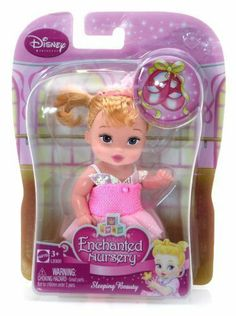 """Sleeping Beauty (L9300) - Disney Princess Enchanted Nursery 4"""" Figure by Mattel. $29.66. For age 3 and up. The Disney Princess dolls are adorable babies in pint-sized signature fashions with lots of princess sparkle and charming hair bows.. Dolls cannot stand alone. The assortment includes Ariel, Cinderella, Snow White, Belle, Sleeping Beauty and Jasmine. Each sold separately. Window box. The Disney Princess dolls are adorable babies in pint-sized signature fashions wit..."""