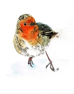 Robin Redbreast by Jina Gelder, via Behance#Repin By:Pinterest++ for iPad#