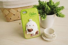iPhone 4 Cute Molang Change Up 3D Jelly Case Lime Coffee