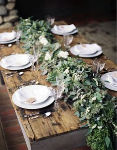 Greenery – Use as a runner on the table or weave over chairs and around fairy lights for a rustic, woodland effect.