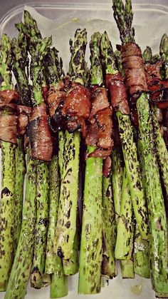 Fresh Grilled Asparagus Wrapped in Prosciutto. Bloody Mary Garnish