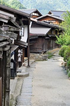 """Tsumago-juku, Nagano, Japan 妻籠宿 I walked through here; it is a post station of the old """"Kiso Road"""". Japanese Landscape, Japanese Architecture, Beautiful World, Beautiful Places, All About Japan, Destinations, Asia, Japan Street, Visit Japan"""