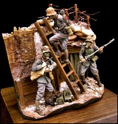 "Diorama of German ""trench raiders"" preparing to assault Allied lines. (SCAHMS 24 