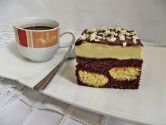 Prajitura cu piscoturi incorporate in blat de cacao Food Cakes, Tiramisu, Cake Recipes, Caramel, Cheesecake, Cookies, Baking, Sweet, Ethnic Recipes