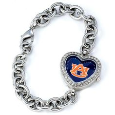 """BSS - Auburn Tigers NCAA Ladies Heart Series Watch . $76.90. BSS - Auburn Tigers NCAA Ladies Heart Series"""" Watch"""" The Heart Series features a bold full-colored face with an Offical Team logo. It features a heart shaped metal case with glistening rhinestones surrounding the genuine glass crystal. The bracelet is adjustable and made of stainless steel. The watch has the accuracy and reliabilty of a Japan Quartz movement; and is water resistant to 3 ATM (99 ft) ..."""