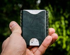 X Bussiness cards Wallet, wood and waxed leather