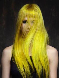 Bright yellow neon hair