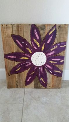Up for Bidding on Ebay reclaimed wood with gorgeous multi-color flower approx 21X24inches