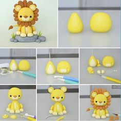 This mini lion king creation amazed me! Cute Polymer Clay, Polymer Clay Animals, Cute Clay, Polymer Clay Projects, Diy Clay, Fondant Figures, Fondant Cake Toppers, Fondant Cakes, Fondant Girl